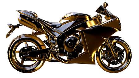 황금 오토바이의 3d 렌더링에 격리 된 흰색 배경 스톡 콘텐츠