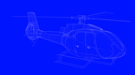 3d rendering of a blue print helicopter  in white lines on a blue background