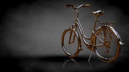 3d rendering of a golden bike on a dark background Banco de Imagens