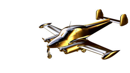 3d rendering of a golden airplane on isolated on a white background Stock Photo