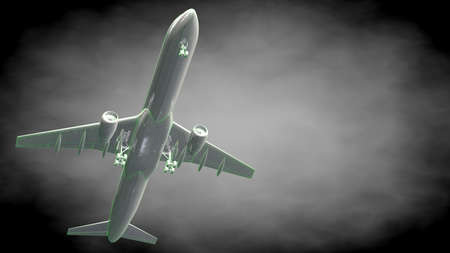 3d rendering of a reflective airplane with green outlined lines as blueprint on dark background Stock Photo