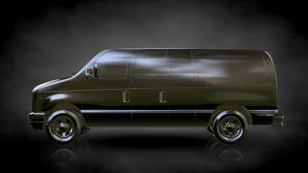 3d rendering of a metalic car reflective on a dark background Stock Photo