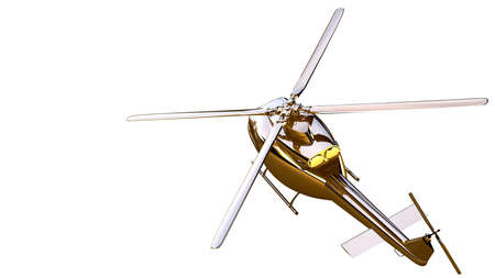 3d rendering of a golden helicopter on isolated on a white background Stock Photo