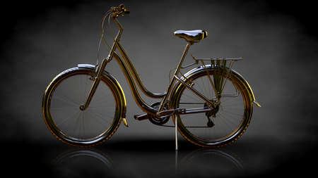 3d rendering of a golden bike on a dark background Stock Photo