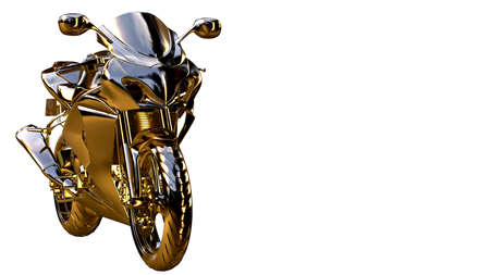solo: 3d rendering of a golden motorcycle on isolated on a white background Stock Photo