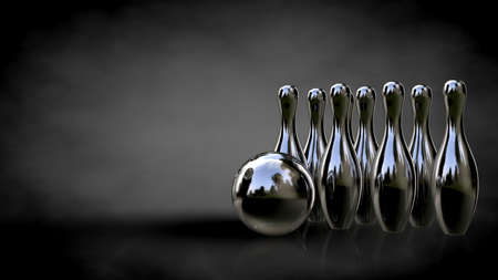 3d rendering of a metalic reflective bowling set on a dark background Stock Photo