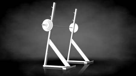 3d rendering of a white reflective gym tools on a dark background