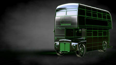 3d rendering of a reflective bus with green outlined lines as 3d rendering of a reflective bus with green outlined lines as blueprint on dark background foto malvernweather Choice Image