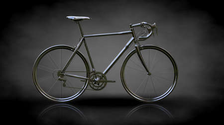 3d rendering of a metalic reflective bike on a dark background