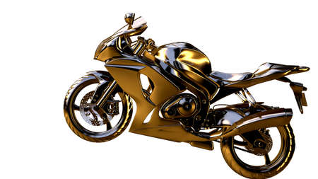 3d rendering of a golden motorcycle on isolated on a white background Stock Photo