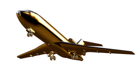 steel: 3d rendering of a golden airplane on isolated on a white background Stock Photo