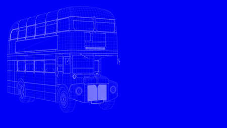 outline bus on a blue background