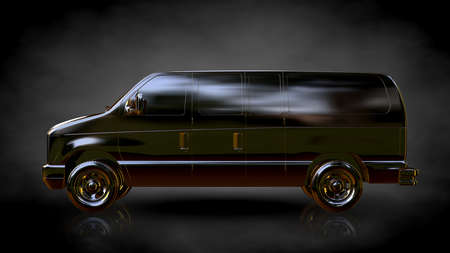 3d rendering of a golden car on a dark background Stock Photo