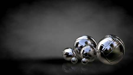 metalic: 3d rendering of a metalic reflective balls on a dark background