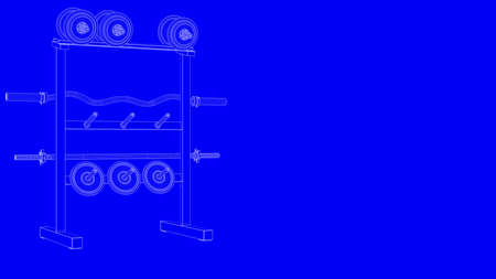 3d rendering of a blueprint gym equipments in white lines on a blue 3d rendering of a blueprint gym equipments in white lines on a blue background foto de malvernweather Choice Image