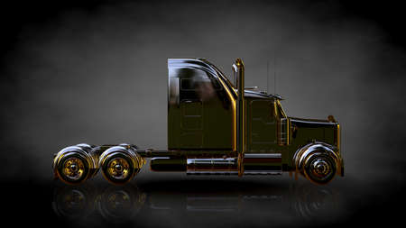 3d rendering of a golden truck on a dark background Stok Fotoğraf