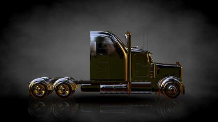 3D-weergave van een gouden vrachtwagen op een donkere achtergrond