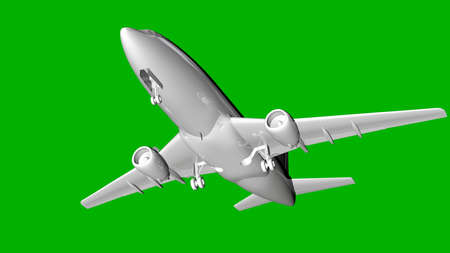 isolated white 3d rendering of an airplane on a green background Stock Photo