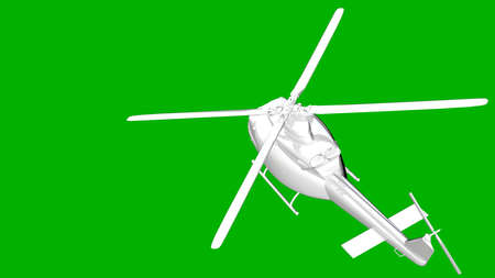 reflective: isolated white 3d rendering of a helicopter on a green background