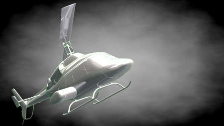 3d rendering of a reflective  helicopter with green outlined lines as blueprint on dark background