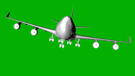 steel: isolated white 3d rendering of an airplane on a green background Stock Photo