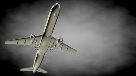 3d rendering of a metalic reflective airplane on a dark background Stock Photo
