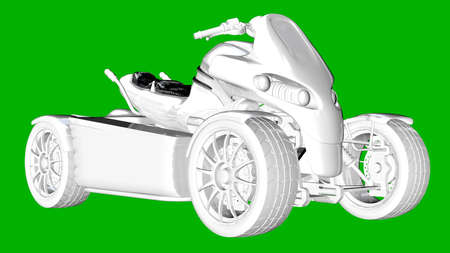 isolated white 3d rendering of a motor on a green background