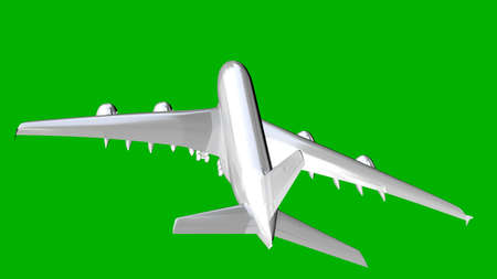 reflective: isolated white 3d rendering of an airplane on a green background Stock Photo