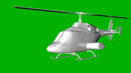 isolated white 3d rendering of a helicopter on a green background