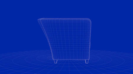3d rendering of an outline chair object on a blue background Stock Photo