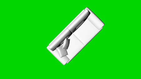 3d rendering of a white chair isolated on green background top view