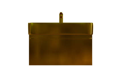 3d rendering of a golden object isolated on white