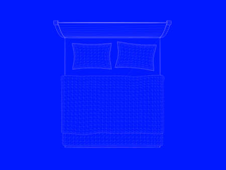 3d rendering of a bed blueprint as lines on a blue background fotos 3d rendering of a bed blueprint as lines on a blue background foto de archivo malvernweather Choice Image