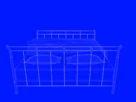 3d rendering of a bed blueprint as lines on a blue background fotos 3d rendering of a bed blueprint as lines on a blue background foto de archivo malvernweather Gallery
