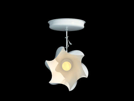 3d rendering of a white lamp pendant isolated on a black background Stock Photo