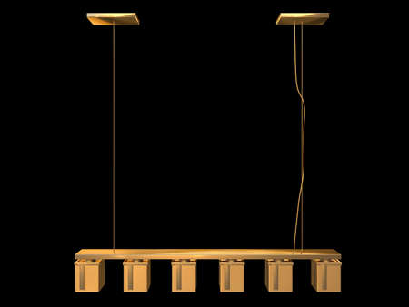 3d rendering of a golden lamp pendant isolated on a black background