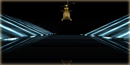 3d rendering of a golden object inside a futuristic road with a dark background Reklamní fotografie