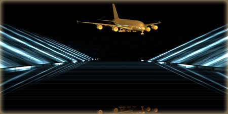 3d rendering of a golden object inside a futuristic road with a dark background Stock Photo