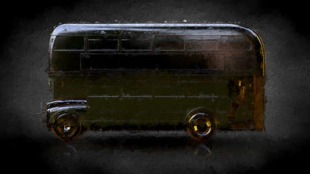 3d rendering of a golden bus on a dark background