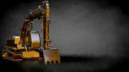 3d rendering of a golden digger on a dark background