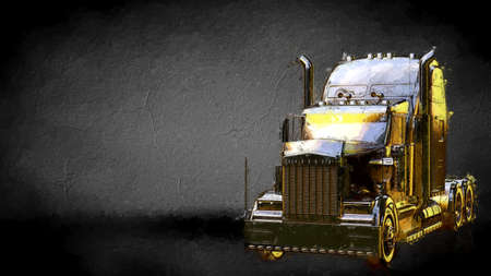 3d rendering of a golden truck on a dark background Imagens - 116784247