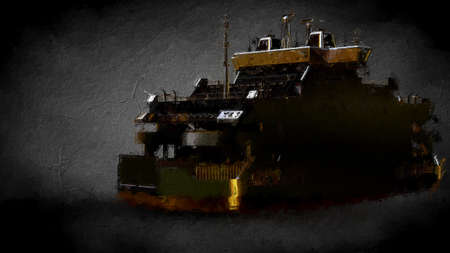 3d rendering of a golden ship on a dark background Stock Photo