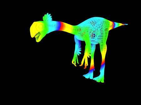 3d rendering of a colorful dino isolated on black background Stock Photo