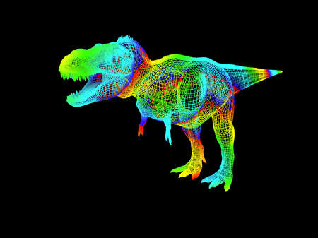 3d rendering of a colorful dino isolated on black background