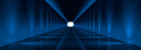 3d rendering of a dark tunnel with blue lights and reflection