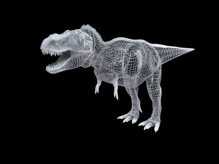 3d rendering of a white wired dino isoalted on black background