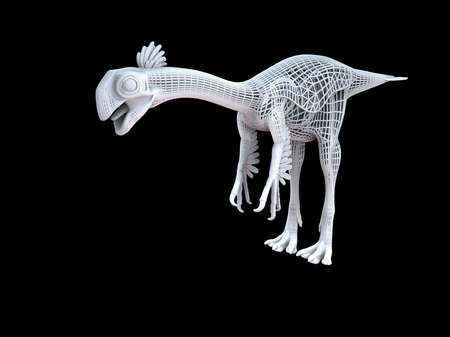 3d rendering of a white wired dino isoalted on black background Stock Photo