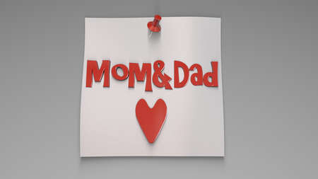 3d rendering of a concept mother and fathers day design inside a studio