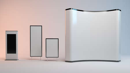 3d rendering of an exhibition design part isolated inside a studio