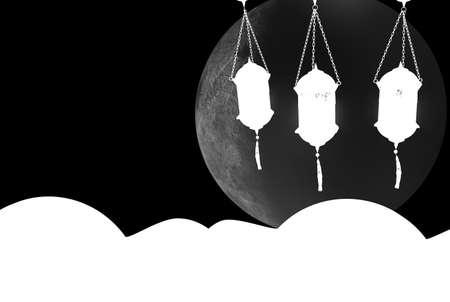 3d rendering of Eid Mubarak Concept inside a studio 写真素材